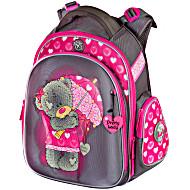 Школьные рюкзаки с ортопедической спинкой для девочек Hummingbird TK28 Мишка серо-малиновый с мешком для обуви