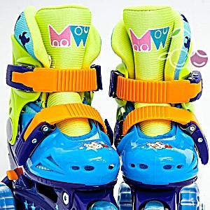 Роликовые коньки детские 25 размер, для обучения (трехколесные, раздвижной ботинок) MagicWheels зеленые